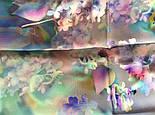 10080-15, павлопосадский шейный платок (крепдешин) шелковый с подрубкой, фото 7