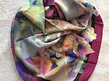 10080-15, павлопосадский шейный платок (крепдешин) шелковый с подрубкой, фото 9