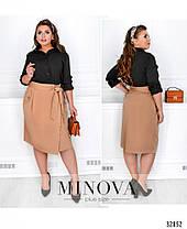 Женская чёрная юбка на запах в деловом стиле батал с 50 по 56 размер, фото 3