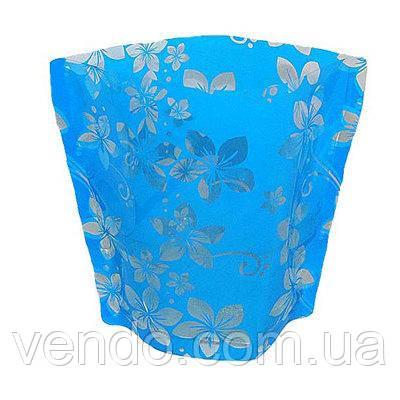 Ваза складная пластиковая Цветы на синем18х22 см