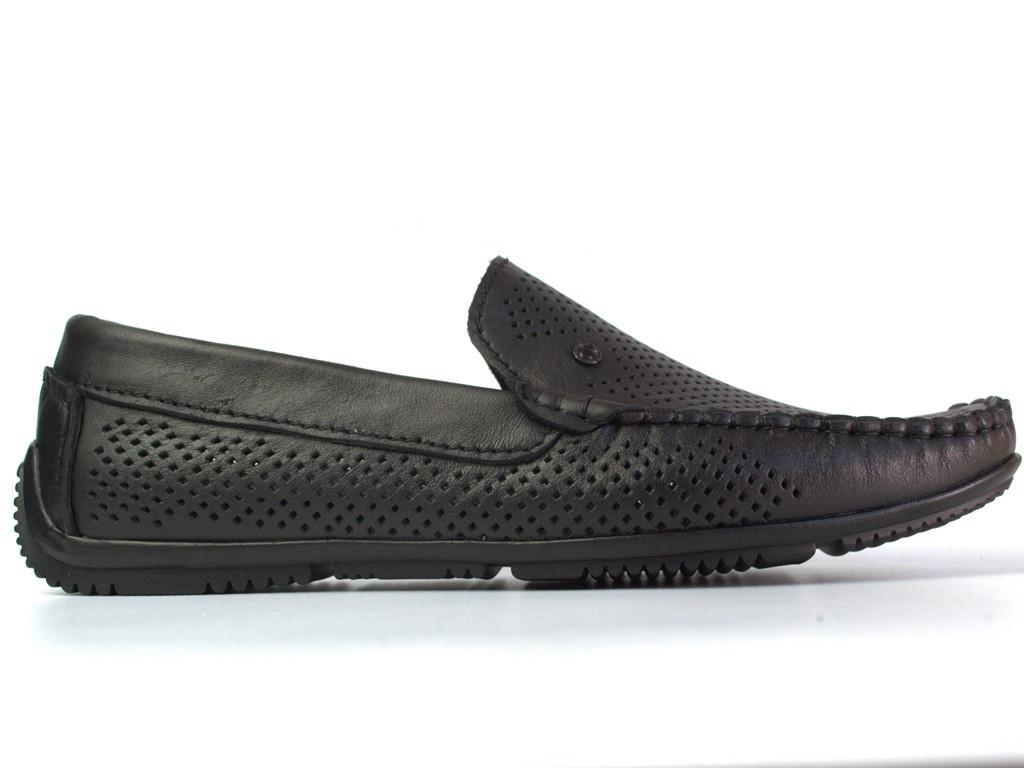 Rosso Avangard BS Alberto PerfBlack большие летние мокасины мужские кожаные с перфорацией черные 50 размер