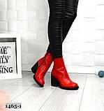 Эффектные кожаные демисезонные ботинки на каблуке, фото 3