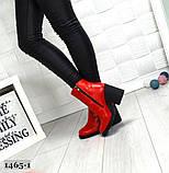 Эффектные кожаные демисезонные ботинки на каблуке, фото 7