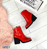 Эффектные кожаные демисезонные ботинки на каблуке, фото 5