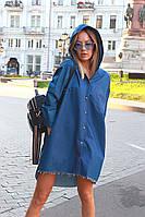 Большая джинсовая рубашка с капюшоном