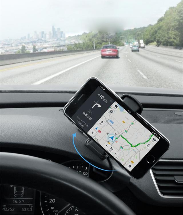 Держатель для смартфона/навигатора в машину на козырек приборной панели с функцией вращением на 360° Черный
