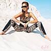 Лосины и топ,костюм для фитнеса женский леопардовый модный,костюм для зала