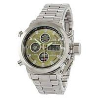Мужские часы AMST Metall Silver-Green, военные часы, армейские часы