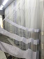 Фатиновая тюль в полоску для зала или спальни. . №2288 Цвет: белый