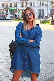 Женская рубашка oversize / джинс / Украина 44-0117