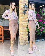 Облегающая юбка с эко-замши большого размера