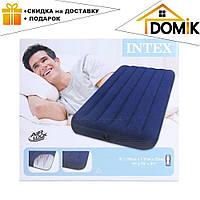 Пляжный надувной односпальный матрас - плот велюровый синий 68757SH INTEX 99-191-22 см