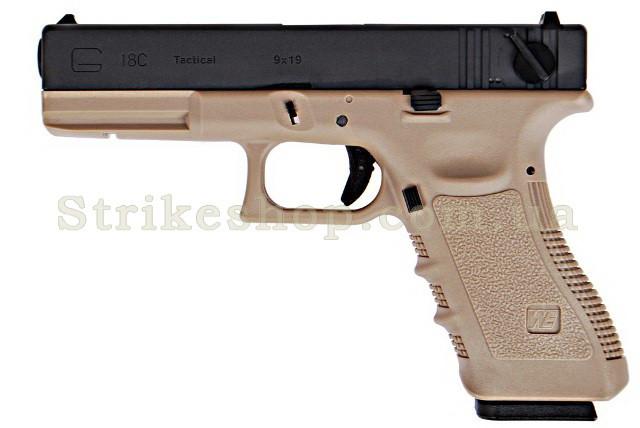 Пістолет WE Glock 18C Gen3. Metal Tan GBB