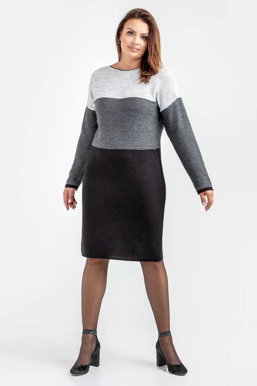 Трехцветное стильное платье увеличенных размеров.