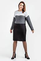 Трехцветное стильное платье увеличенных размеров., фото 1