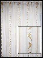 Тюль в зал  вертикальная полоска орнамент