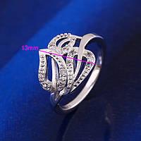 Кольцо  покрытие серебром размер 17  (арт-12139)