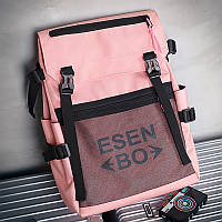 Городской женский спортивный рюкзак (для учебы, работы, тренировок) ESEN BO, розовый + черный