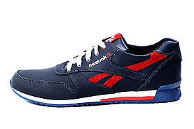 Мужские кожаные кроссовки Anser Reebok New Line dark blue red (реплика)