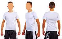 Футболка спортивная мужская однотонная без рисунков CO-4490M-1 белый (хлопок, р-р S-XL-42-54)