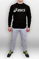 Спортивный костюм Asics, брендовый, черный верх, серый низ