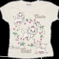 Детская футболка с принтом, хлопок (кулир-пинье), ТМ Ромашка+, р. 92, 98, 104, Украина