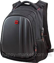 Рюкзак для подростка Winner Stile 410-1 чёрный с красной эмблемой