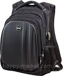 Рюкзак для подростка Winner Stile 410-21 чёрный с серой эмблемой