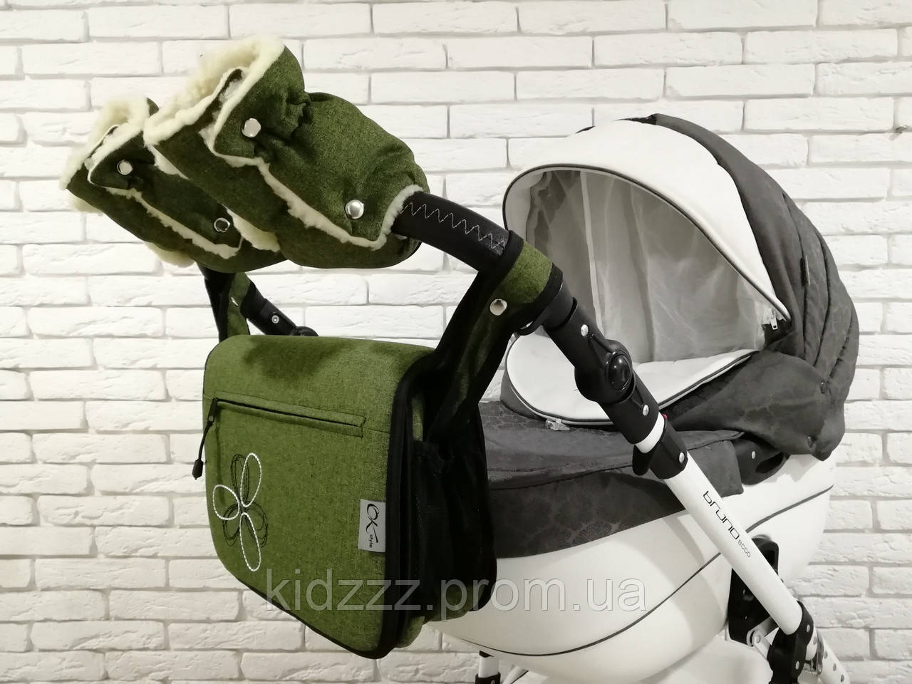 Комплект сумка и рукавички на коляску Ok Style Цветок Лен (Зеленый хаки)