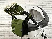 Комплект сумка и рукавички на коляску Ok Style Цветок Лен (Зеленый хаки), фото 1