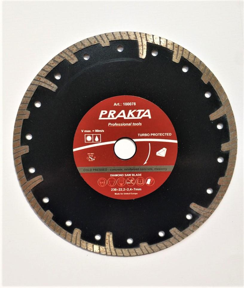 """078 Диск відрізний алмазний """"PRAKTA turbo protekted"""" 230*22.2*2.2*7мм"""