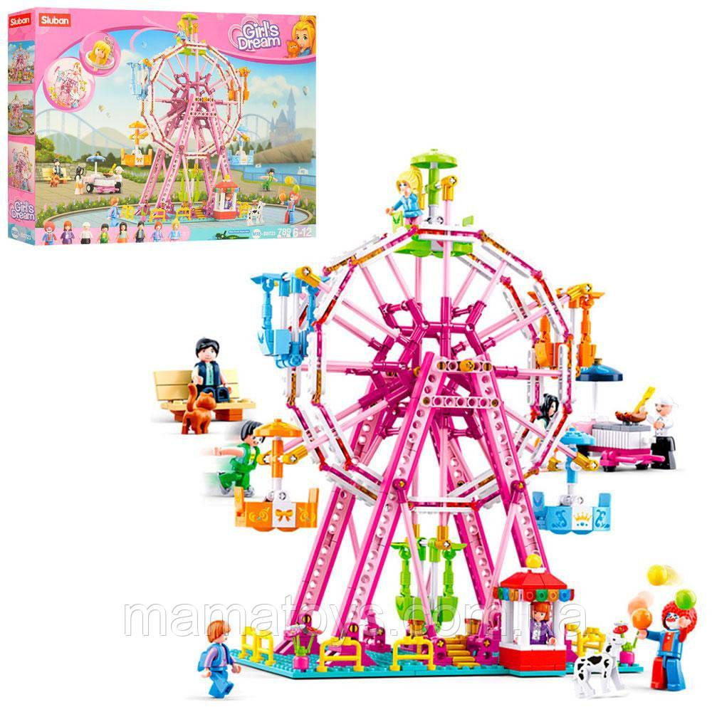 Конструктор SLUBAN M38-B0723 Парк развлечений Колесо обозрения, кафе, фигурки, 789 деталей, Розовая мечта