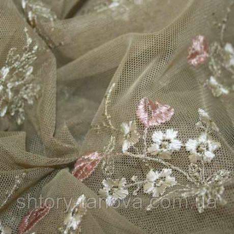 Гард полотно гипюр аннет т.бежевый цветок розовый