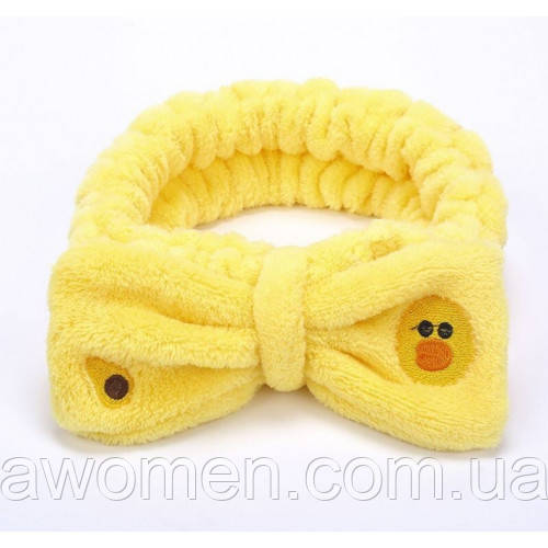 Повязка на голову для умывания бантик уточка (желтая)