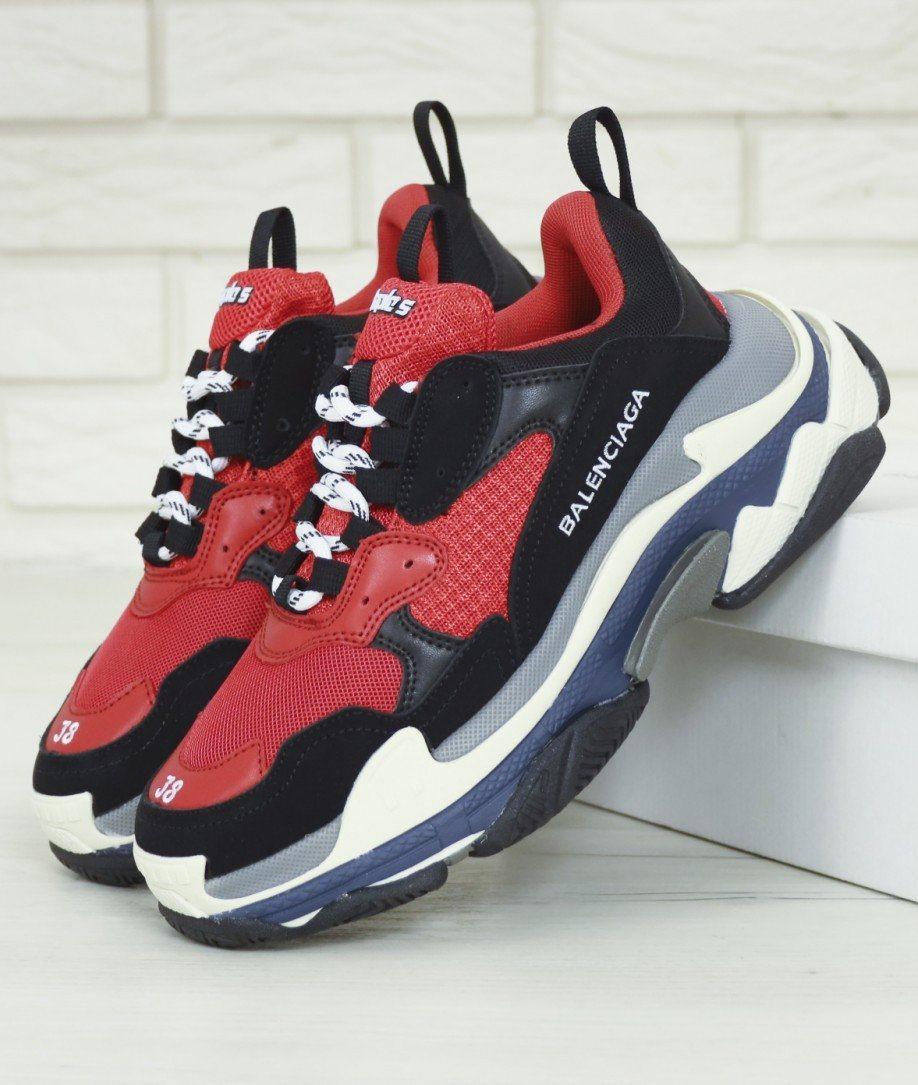 Женские кроссовки Balenciaga Triple S Red Black Многослойная подошва