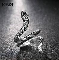 Кольцо Змея женское серебристое