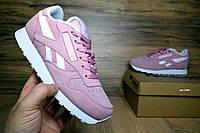 Женские кроссовки  Reebok Classic розовые с белой полоской замша. Код товара ОД - 2440