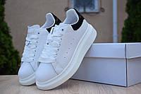 Женские кроссовки Adidas х Alexander Mcqueen, кожа, пена, белые с черным