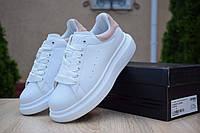 Женские кроссовки Adidas х Alexander Mcqueen, кожа, пена, белые с розовым