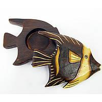 """Пепельница """"Рыба"""" деревянная 17 см Индонезия 19042"""