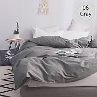 Однотонное постельное белье микс Серый + Белый, поплин Lux, разные размеры семейный