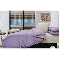 Комплект однотонного постельного белья  светло серый + лиловый, сатин, разные размеры евро