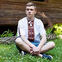 Вишита сорочка короткий рукав (домоткане полотно), фото 1