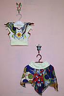 Пестрый летний костюм с топом и юбкой для девочек «Тропиканка»