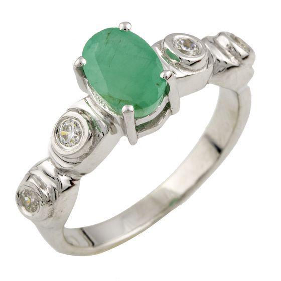 Родированное серебряное кольцо 925 пробы с натуральным изумрудом