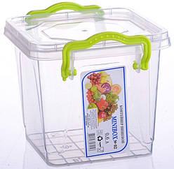 Контейнер для хранения продуктов с зажимами MINIBOX - 0,6л квадратный
