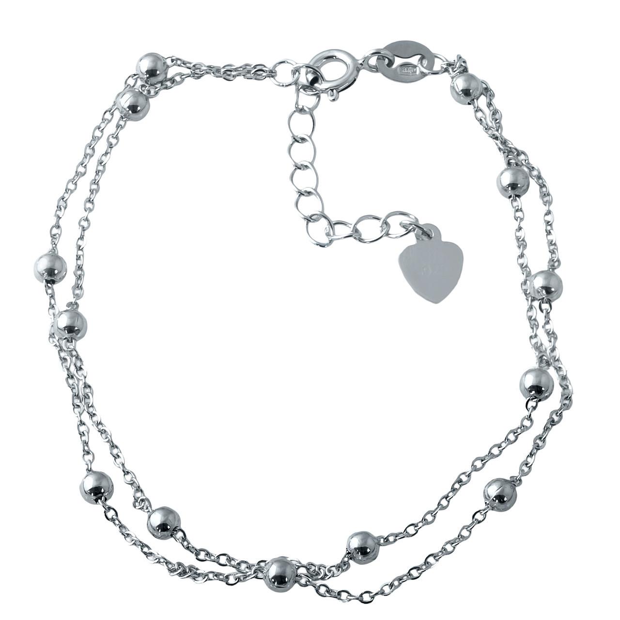 Родированный серебряный браслет на ногу 925 пробы без камней