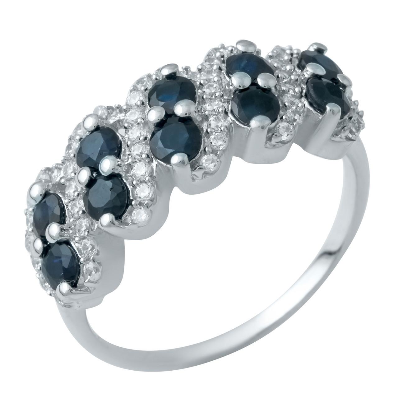 Родированное серебряное кольцо 875 пробы с натуральным сапфиром