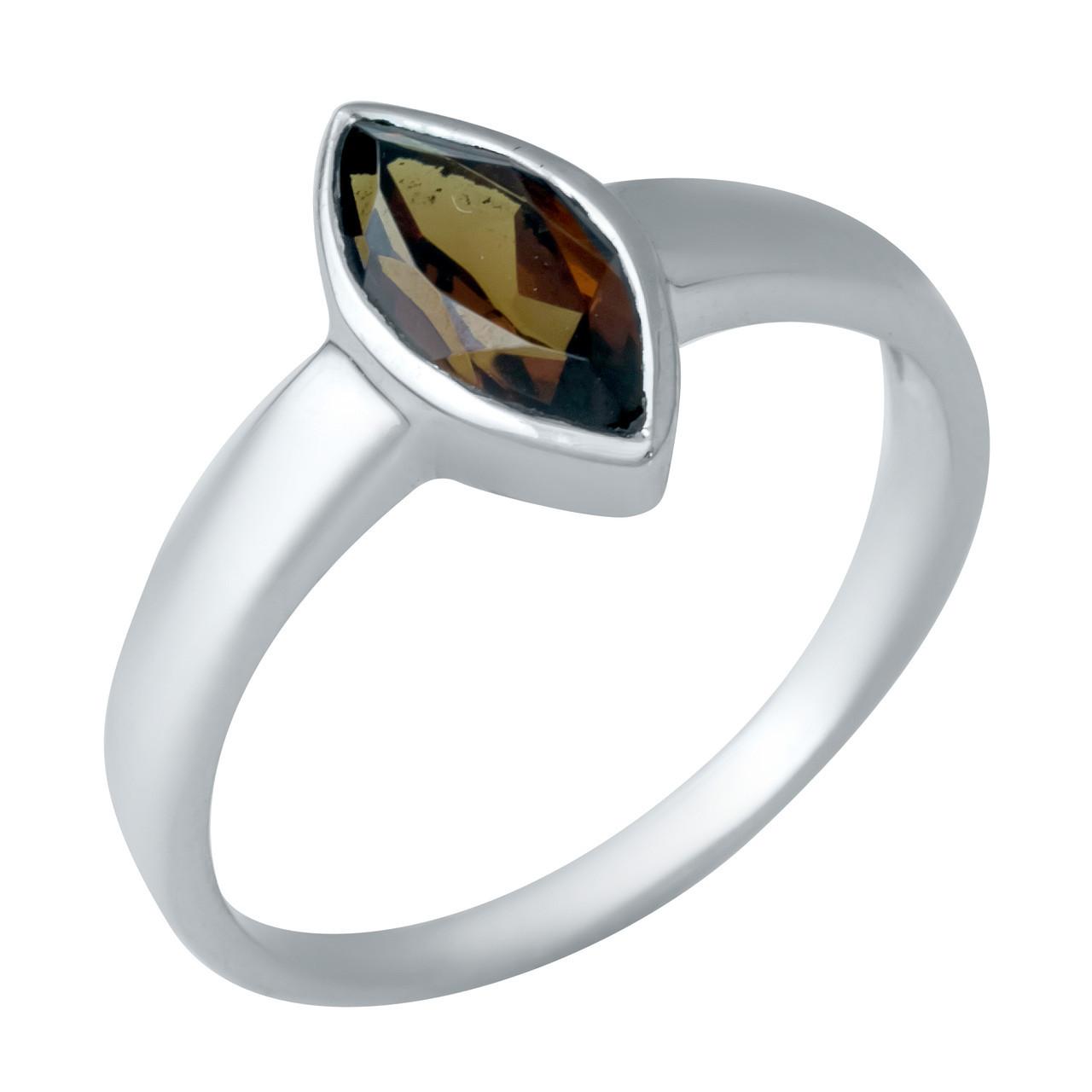 Родированное серебряное кольцо 925 пробы с натуральным гранатом