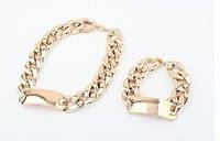 Новый дизайн! Набор бижутерии: колье + браслет, толстая цепочка, цвет - золото